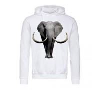 Толстовка мужская с капюшоном белая Слон m701