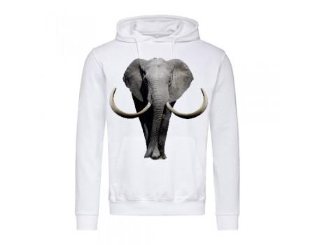 Толстовка чоловіча з капюшоном біла  Слон m701