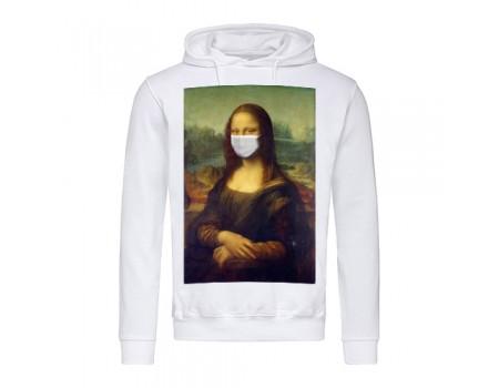 Толстовка мужская с капюшоном белая Мона Лиза m702