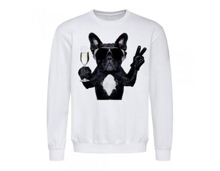Свитшот мужской белый собака в очках m603