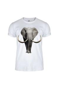 Футболка белая слон m156