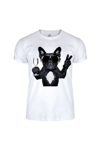 Футболка белая собака в очках m147