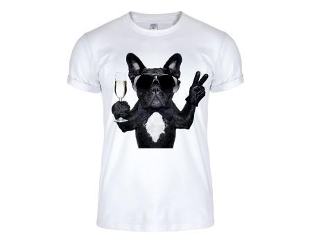 Футболка біла собака в окулярах m147