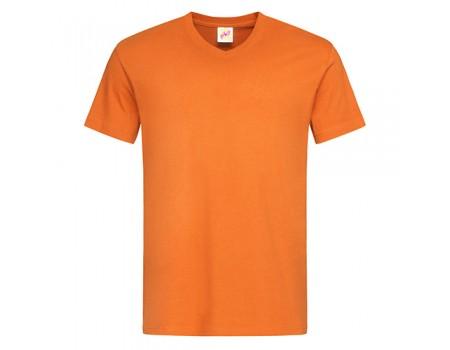 Футболка чоловіча з V-подібним вирізом оранжева m135