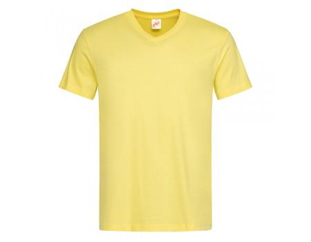 Футболка чоловіча з V-подібним вирізом жовта m133