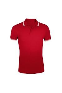 Поло мужское двухцветная красное с белыми манжетами m404