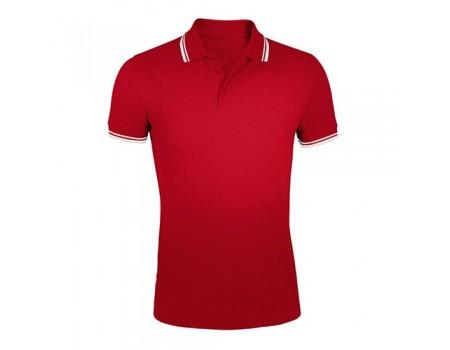 Поло чоловіче двоколірне червоне з білими манжетами m404