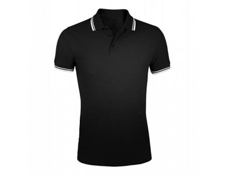 Поло чоловіче двоколірне чорне з білими манжетами m409
