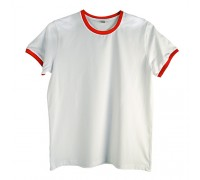 Футболка мужская премиум белая с красными манжетами m141