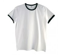 Футболка мужская премиум белая с черными манжетами m144