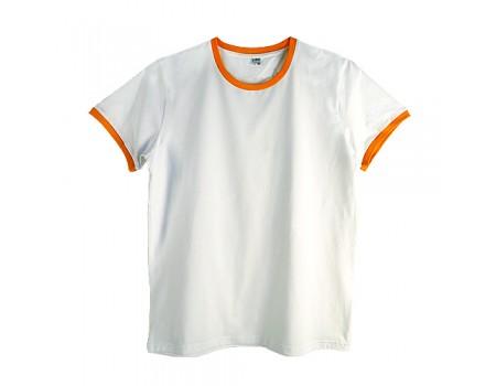 Футболка чоловіча преміум біла з  оранжевими манжетами m142