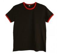 Футболка чоловіча преміум чорна з червоними манжетами m149