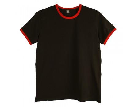 Футболка мужская премиум черная с красными манжетами m149
