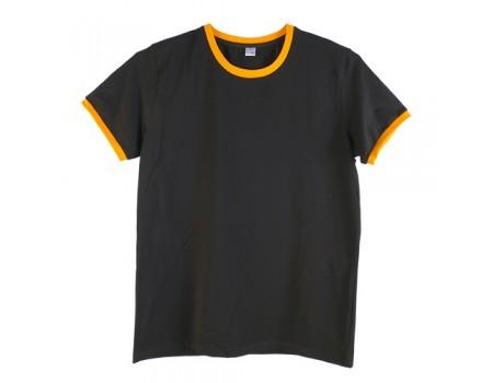 Футболка чоловіча преміум чорна з  оранжевими манжетами m151