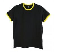 Футболка чоловіча преміум чорна з  жовтими манжетами m150