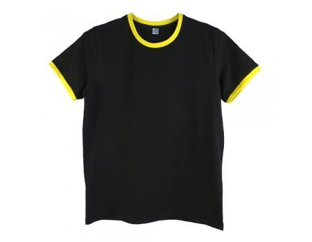 Футболка мужская премиум черная с желтыми манжетами m150