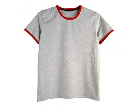 Футболка мужская премиум серая с красными манжетами m147