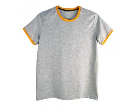 Футболка мужская премиум серая с помаранжевимы манжетами m145