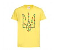 Футболка жовта Тризуб Квіти c149