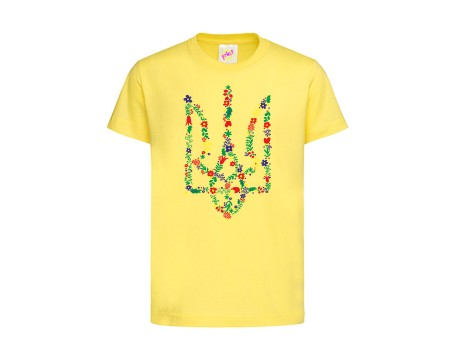 Футболка желтая Тризуб Цветы c149