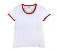 Футболка женская премиум белая с  красными манжетами  w150