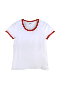 Футболка жіноча преміум біла з червоними манжетами w150