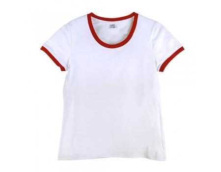 Футболка жіноча преміум біла з манжетами