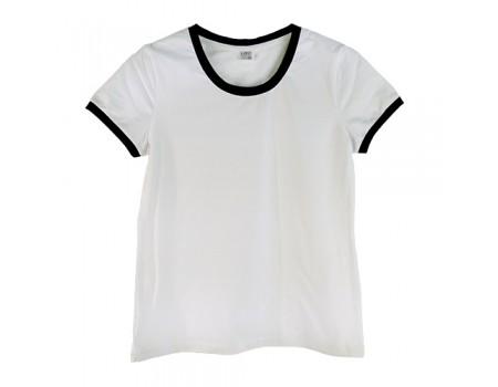 Футболка жіноча преміум біла з  чорними манжетами w151