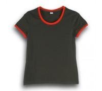 Футболка женская премиум черная с красными манжетами w158