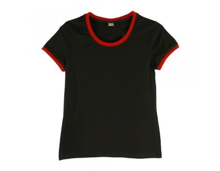 Футболка жіноча преміум чорна з червоними манжетами w158