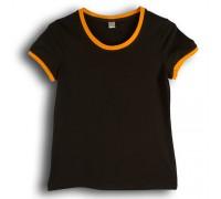 Футболка женская премиум черная с оранжевыми манжетами w159