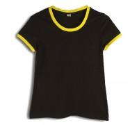 Футболка женская премиум черная с желтыми манжетами w157