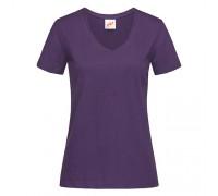 Футболка женская с V-образным вырезом фиолетовая w132