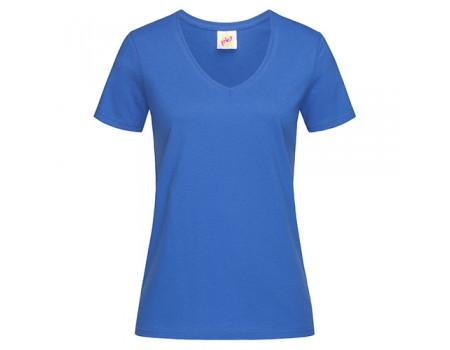 Футболка женская с V-образным вырезом синяя w139