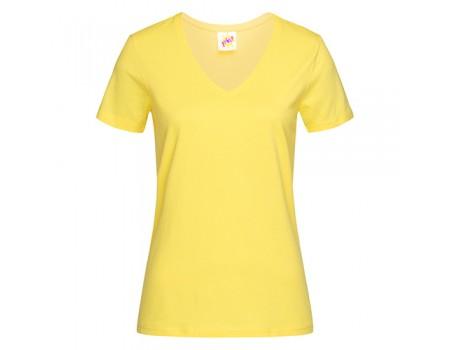 Футболка жіноча з V-подібним вирізом жовта w137