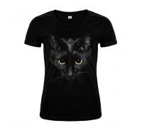 Футболка чорна кіт w161