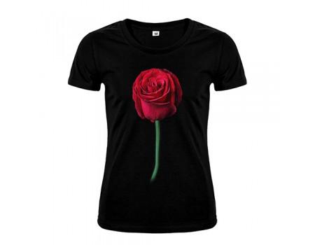 Футболка черная Роза w162