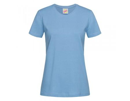 Футболка женская с круглым вырезом голубая w107