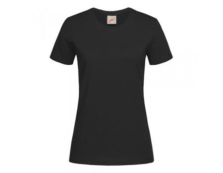 Футболка жіноча з круглим вирізом чорна w109