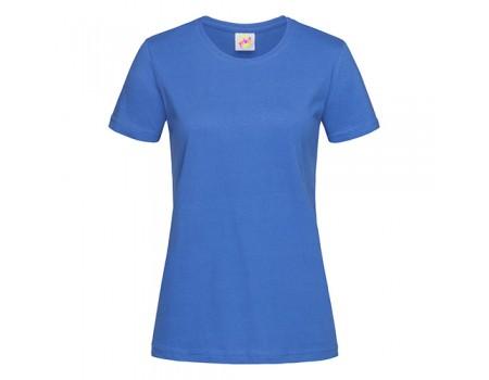 Футболка женская с круглым вырезом синяя w115