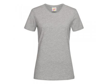Футболка женская с круглым вырезом серый меланж w102