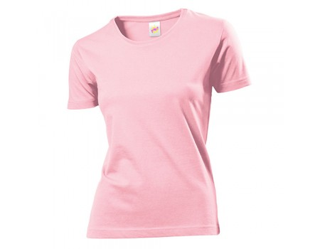 Футболка женская с круглым вырезом розовая w108
