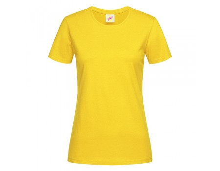 Футболка женская с круглым вырезом желтая w103