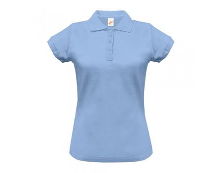 Поло жіноче з манжетами на рукавах блакитне w254