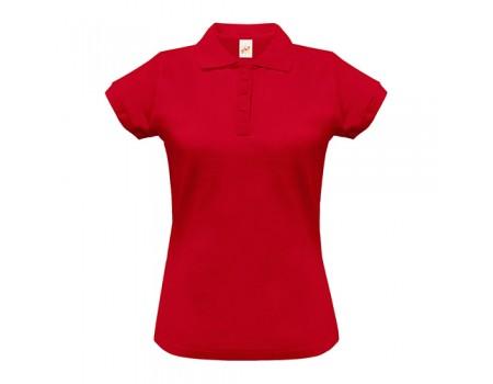 Поло женское с манжетами на рукавах красное w242