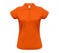 Поло жіноче з манжетами на рукавах помаранжеве w246