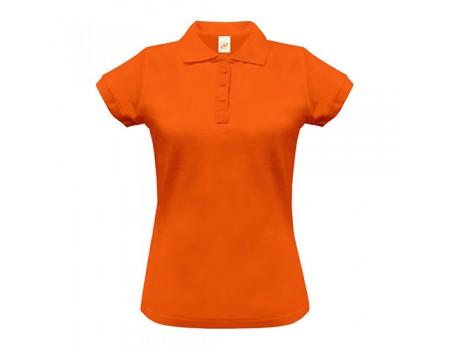 Поло женское с манжетами на рукавах оранжевое w246