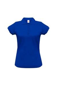 Поло женское с манжетами на рукавах синее w243