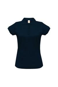 Поло женское с манжетами на рукавах темно синее w244