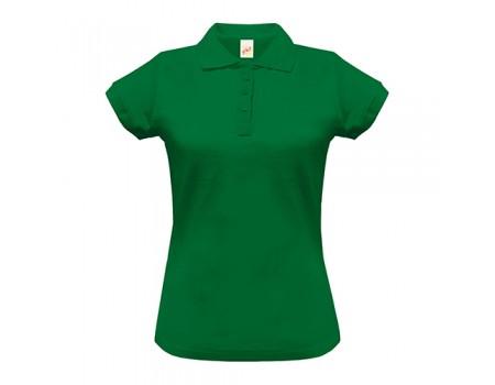 Поло жіноче з манжетами на рукавах зелене w248